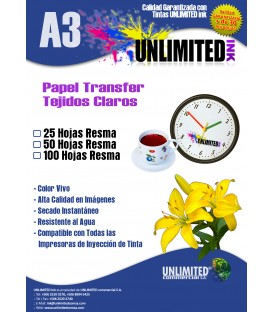 Papel transfer Unlimited Ink para fondos claros